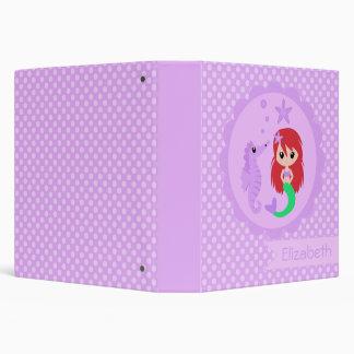 Cute Mermaid in Purple 3 Ring Binders