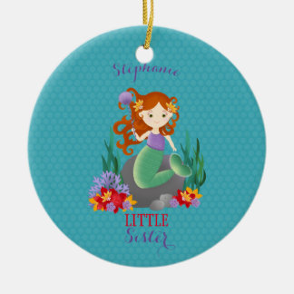Cute Mermaid Little Sister Ceramic Ornament