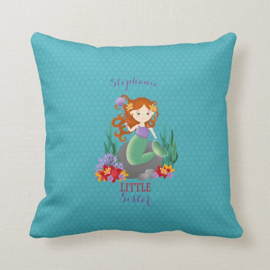 Cute Mermaid Little Sister Throw Pillow