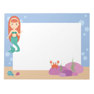 Cute mermaid ocean theme summer girl notepad