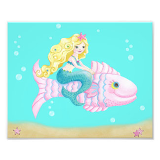 Cute mermaid on a pink fish photo print