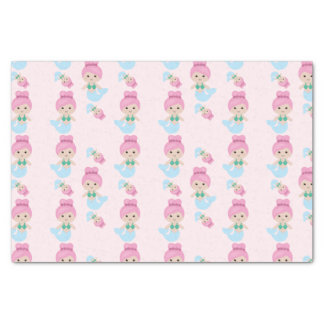 Cute mermaid pattern pink tissue paper