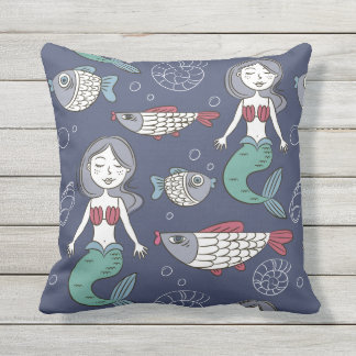 Cute Mermaid Pattern throw pillows