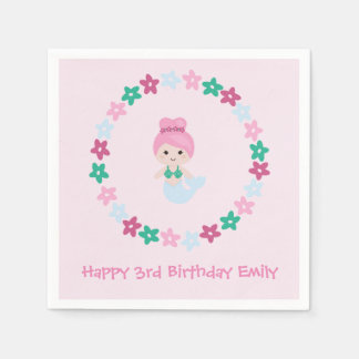 Cute Mermaid Pink Birthday Napkin with name Disposable Napkins