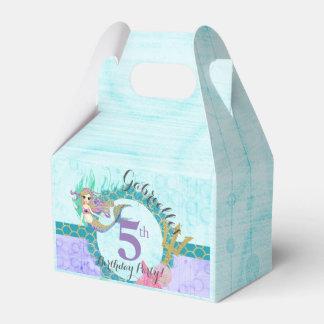 Cute Mermaid Teal & Purple Mermaid Birthday Party Favor Box