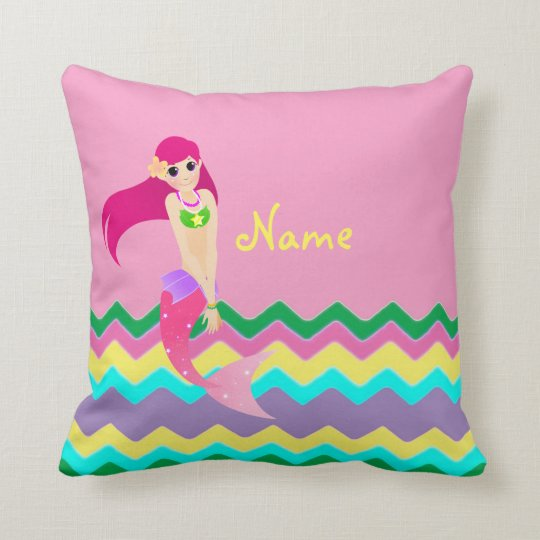 "Cute Mermaid Throw Pillow 16"" x 16"""
