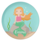 Cute Mermaid Under the Sea Personalized Plate