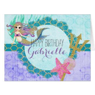 Cute Mermaid Watercolor Teal Purple Girl Birthday Card