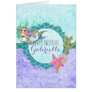 Cute Mermaid Watercolor Teal Purple Girl Birthday Card