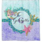 Cute Mermaid Watercolor Teal & Purple Monogram