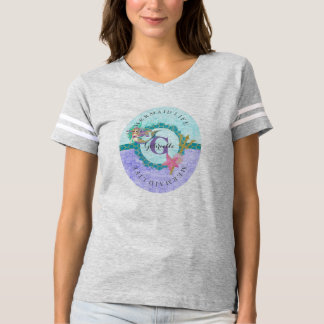 Cute Mermaid Watercolor Teal & Purple Monogram T-shirt