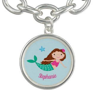 Cute Mermaid Whimsical Personalized Charm Bracelet