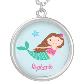 Cute Mermaid Whimsical Personalized Silver Plated Necklace
