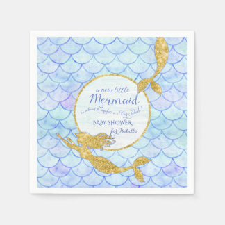 Cute Mermaids Fish Scale Baby Shower Faux Glitter Paper Napkin