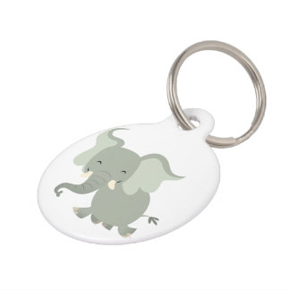 Cute Merry Cartoon Elephant Dog Tag