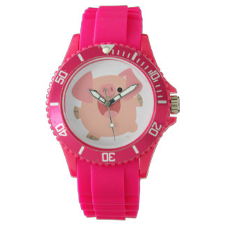 Cute Merry Cartoon Pig Women Sporty Watch