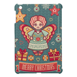 Cute Merry Christmas Angel and presents iPad Mini Covers
