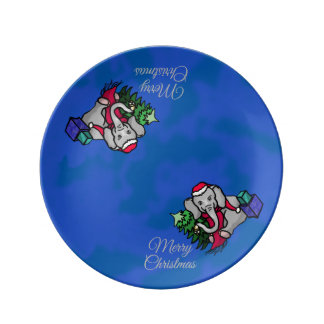 Cute Merry Christmas Bell-Ringing Cartoon Elephant Plate
