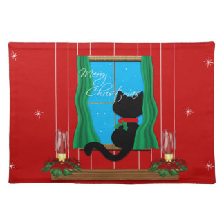Cute Merry Christmas Black Cat Placemat