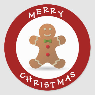 Cute Merry Christmas Gingerbread Man Round Sticker