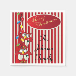 Cute Merry Christmas Owls Disposable Napkins