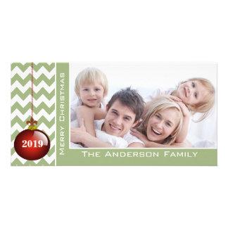 Cute Merry Christmas Red Ornament Chevron Pattern Card