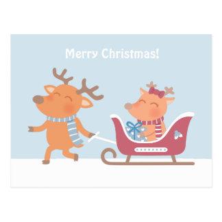 Cute Merry Christmas Reindeer Sleigh Postcard