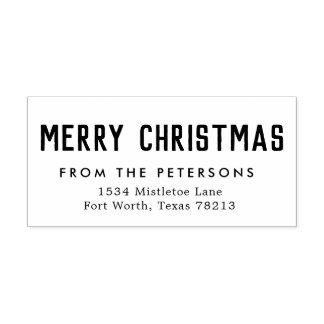 Cute Merry Christmas Return Address Stamp