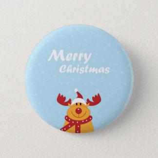 Cute Merry Christmas Rudolph Snowflakes Cartoon 2 Inch Round Button