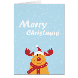 Cute Merry Christmas Rudolph Snowflakes Cartoon Card
