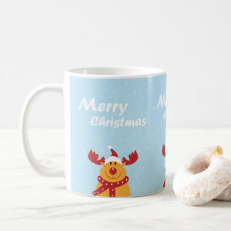 Cute Merry Christmas Rudolph Snowflakes Cartoon Coffee Mug