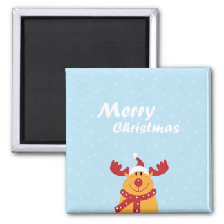 Cute Merry Christmas Rudolph Snowflakes Cartoon Magnet