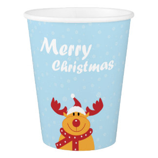 Cute Merry Christmas Rudolph Snowflakes Cartoon Paper Cup