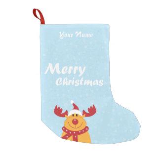 Cute Merry Christmas Rudolph Snowflakes Cartoon Small Christmas Stocking