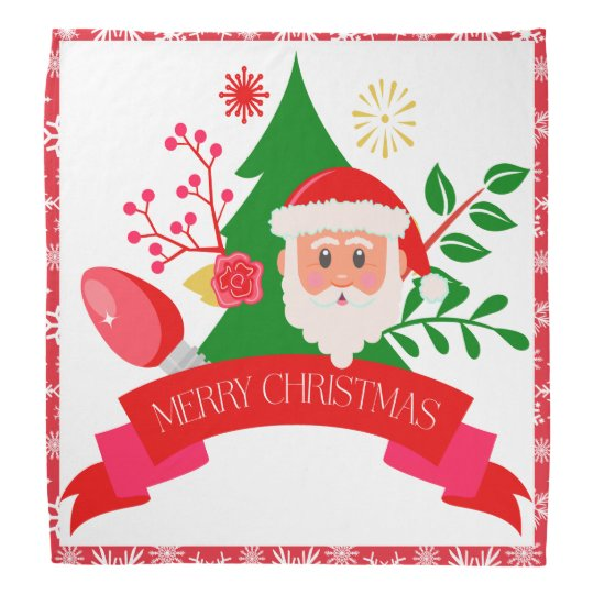 Cute Merry Christmas Santa Greetings Design Bandana