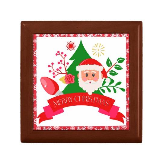 Cute Merry Christmas Santa Greetings Design Gift Box