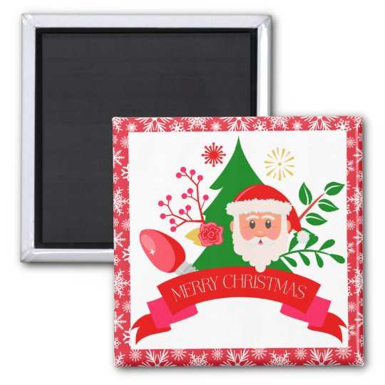 Cute Merry Christmas Santa Greetings Design Magnet