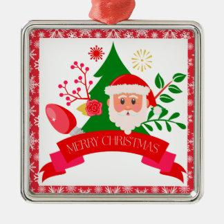 Cute Merry Christmas Santa Greetings Design Metal Ornament