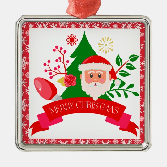 Cute Merry Christmas Santa Greetings Design Metal Ornament