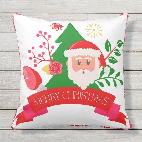 Cute Merry Christmas Santa Greetings Design Outdoor Pillow