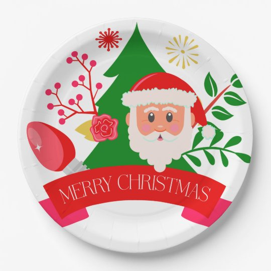 Cute Merry Christmas Santa Greetings Design Paper Plate