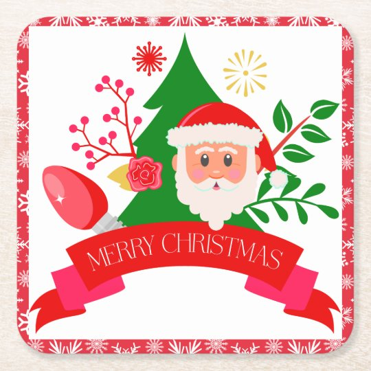 Cute Merry Christmas Santa Greetings Design Square Paper Coaster