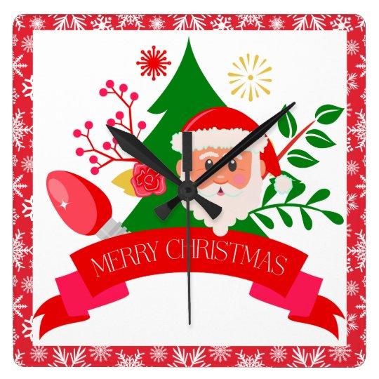 Cute Merry Christmas Santa Greetings Design Square Wall Clock