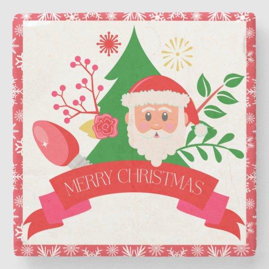 Cute Merry Christmas Santa Greetings Design Stone Coaster