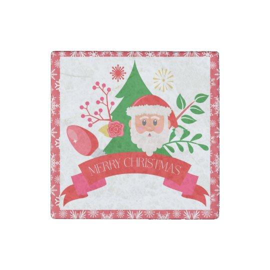 Cute Merry Christmas Santa Greetings Design Stone Magnets