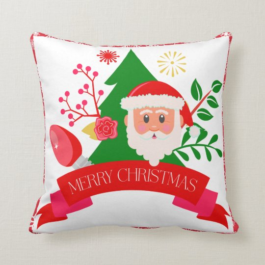 Cute Merry Christmas Santa Greetings Design Throw Pillow