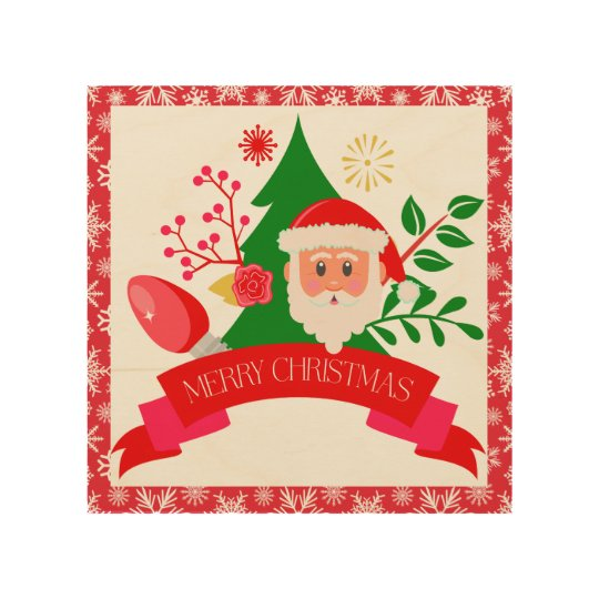 Cute Merry Christmas Santa Greetings Design Wood Print
