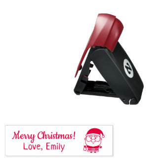 Cute Merry Christmas Santa with Bell Pocket Stamp