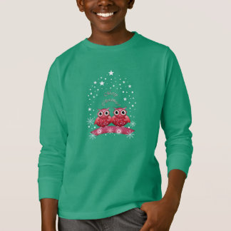 Cute Merry Christmas Text and Owls T-shirt