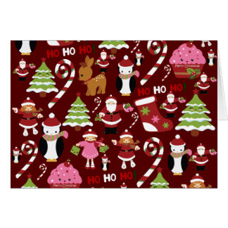 Cute Merry Christmas Xmas Holiday Pattern Card
